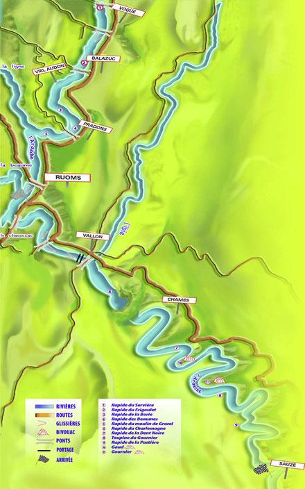 Carte des parcours en canoë sur l'Ardèche