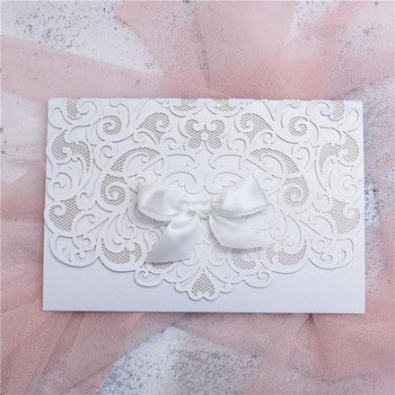 Lasercut Karte #C0076 Standardfarbe White Shimmer, Hochzeitskarten, Einladungskarten