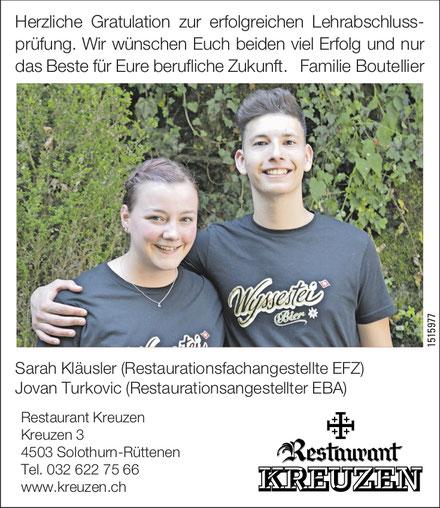 restaurant kreuzen solothurn lernende