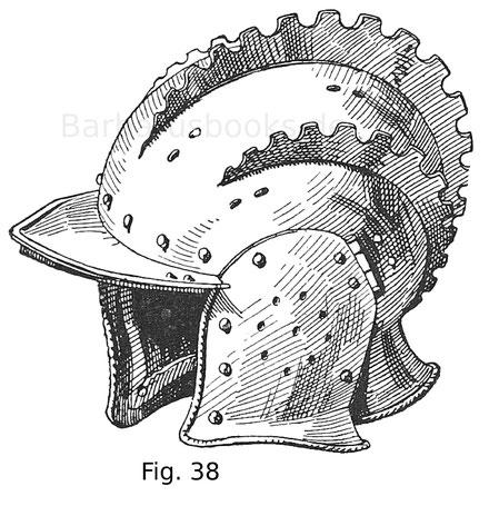 Fig. 37. Sturmhaube mit drei Kämmen aus blankem Eisen. Aus dem Heer Kaisers Karls V. Spanisch. Um 1530.