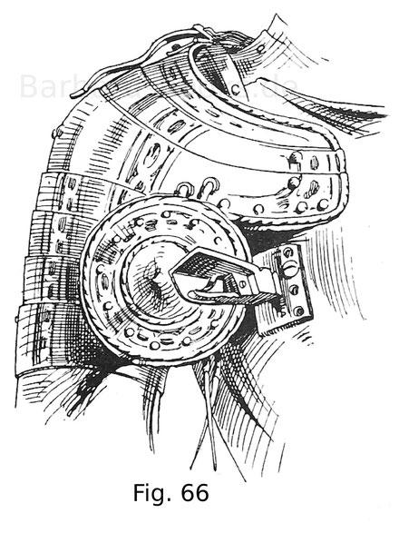Fig. 66. Rechtsseitige Achsel mit angebundener Schwebescheibe von einem Harnisch des Kaisers Ferdinand I. um 1560.