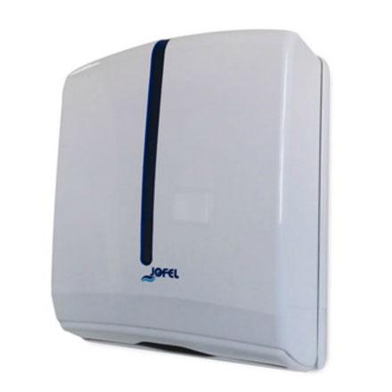 Despachador / Despachador de toalla interdoblada Z AH36000 Color: Blanco con aplique en azul Dimensiones en milímetros: Alto: 350 Largo: 270 Ancho: 135 Capacidad: 600 toallas Contenido por caja: 1 pieza