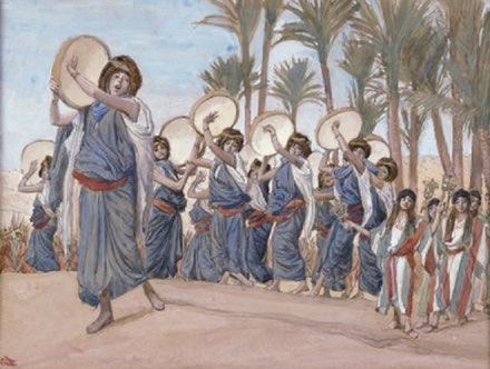 """""""Lieder der Freude"""". Mirijam und ihre Begleiterinnen von James Tissot."""