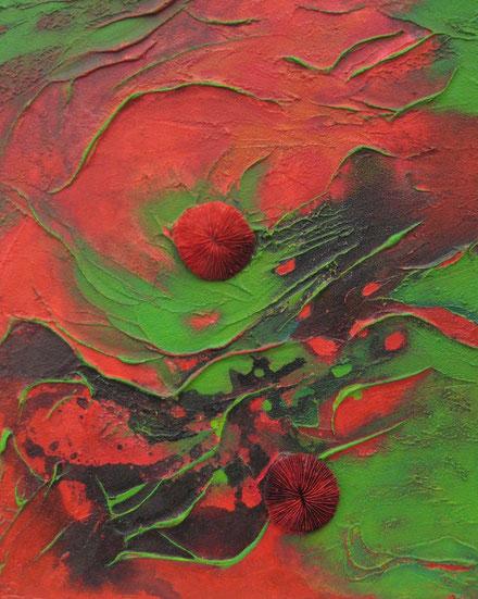 Aus der Reihe: Es war rot und grün, 40 x 50 cm, Spachtelmasse, Tusche, Acrylfarbe, Fundstücke