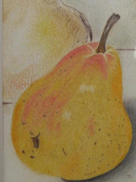 Birne, Buntstifte auf Ölpastell, DINA5