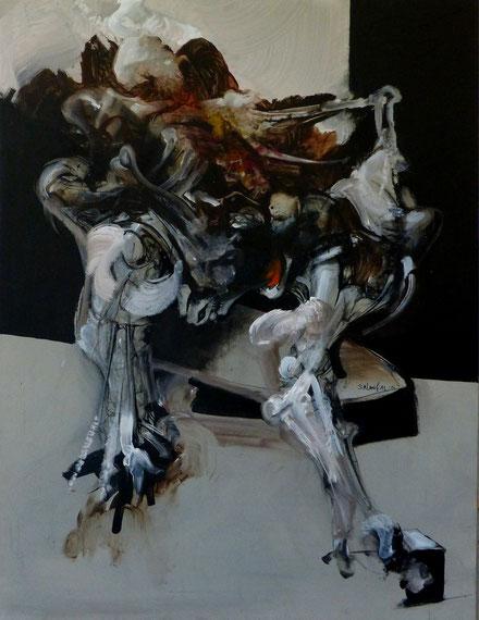 Haruspices Acrylique-pastel sur toile 116cmx89cm