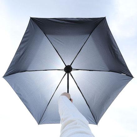 <一般的な雨傘生地では太陽光が透過してしまう>