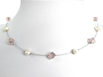 Halskette mit asymetrischen Glasperlen und Zuchtperlen rosa/weiß