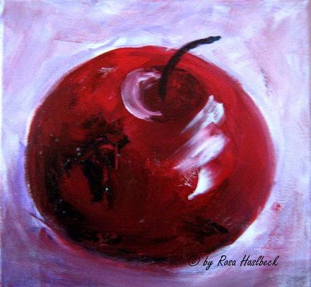 Acrylbild, acryl, apfel, obst, früchte,  herbst, rot, violett,herbst, ,  bild, malen, malerei, kunst, geko, dekoration, wandbild, abstrakt, kaufen, schenken