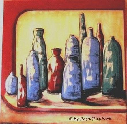 Acrylbild, acryl,flaschen, fenster, grün, blau, rot, gelb, stillleben, kaufen, braun,  bild, malen, malerei, kunst, geko, dekoration, wandbild, abstrakt, kaufen, schenken