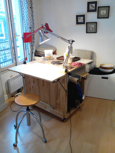 DIY work station made with old IKEA furniture