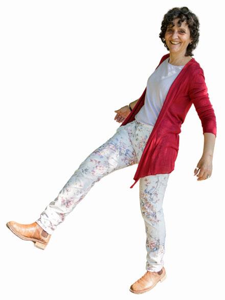 lachende Frau,schwungvolles Beinheben, Jungo-Grafik, Thun