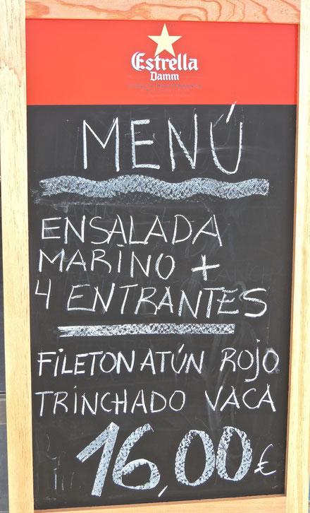 El menú de estos días para saborear en la terraza de la Barra del Marino (Plaza peatonal de Mariana Pineda)