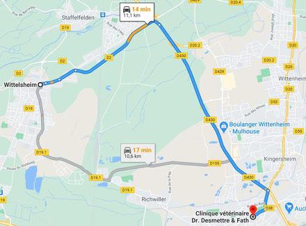 Trajet et plan pour aller de Wittemsheim à Bourtzwiller en voiture