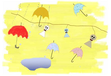 傘 と てるてるぼうず