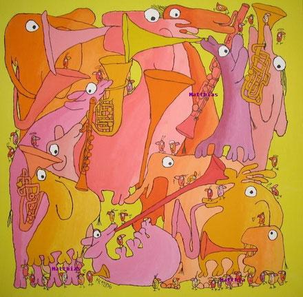 """Bläser"", Acryl auf Leinwand 100/100 cm  Dezember 2006"