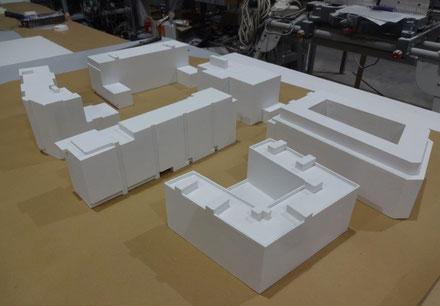 Maquetas de edificios para videomapping (proyection mapping) , proyección de video texturas