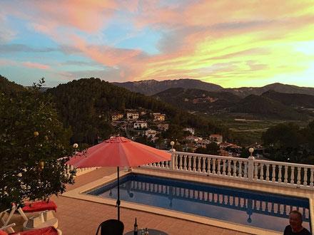 Sonnenuntergang am 31.03.2015, Terrasse der Ferienwohnung Valencia