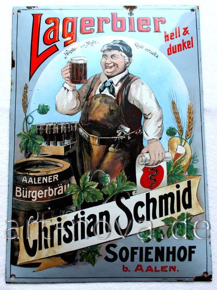 Altes Emailschild Lagerbier Brauerei aus Aalen in sehr schöner Erhaltung!