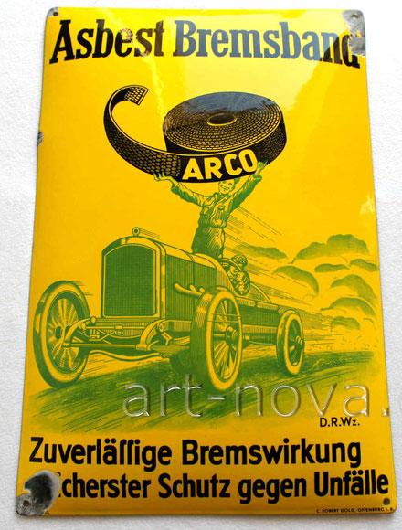 Emailschild Arco Asbest Bremsband um 1920 im brennfrischen Hochglanz