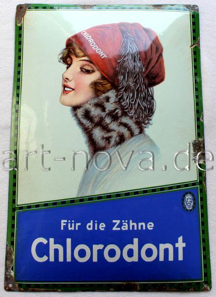 Altes Emailschild Chlorodont um 1920 mit kräftgen Farben und tollen Glanz!