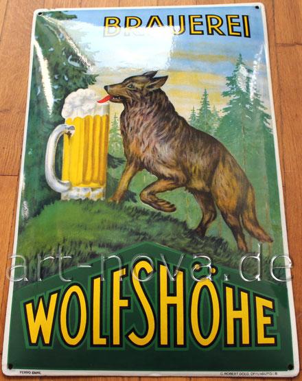 Altes Emailschild der Brauerei Wolfshöhe in einem beeindruckenden Hochglanz!