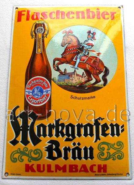 Werbeschild um 1920 von der Brauerei Markgrafen Kulmbach