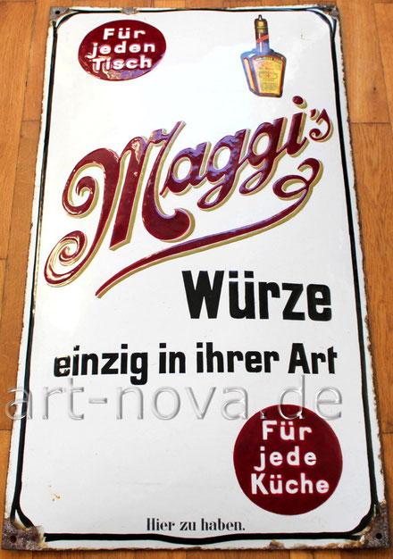 Ein altes originales Emailschild von Maggi um 1900 in satten Farben und im Hochglanz