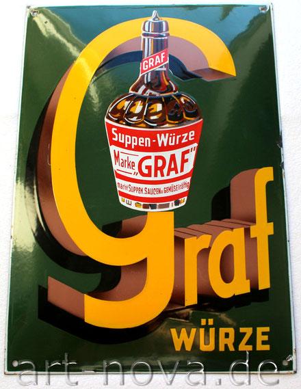 altes Emailschild von Graf Suppen Würze von 1930 in erstaunlich schöner Erhaltung