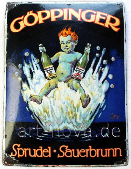 Altes Emailschild Göppinger Sprudel , original um 1920 in sehr schönem Zustand!