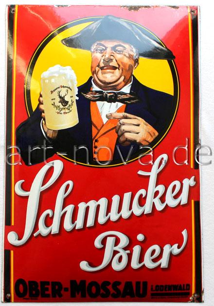 Altes Emailschild der Brauerei Schmucker um 1930 in traumhafter Erhaltung