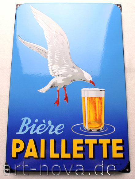 Emailschild um 1930 aus Frankreich, Bière Paillette im Traumzustand! emaillee