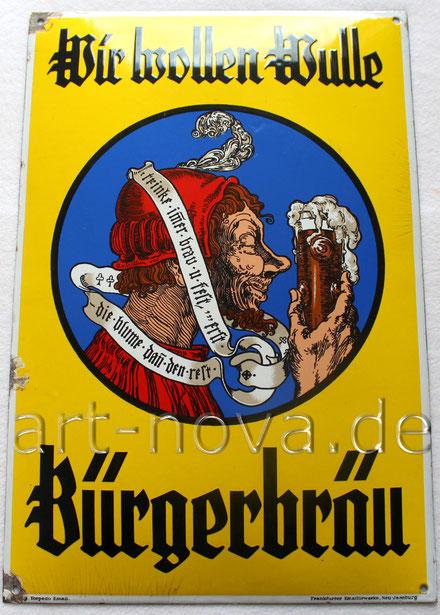 Altes Emailschild der Brauerei Wulle aus Stuttgart um 1920!