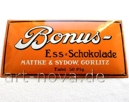 sehr gut toll erhaltenes Emailschild Bonus Ess-Schokolade