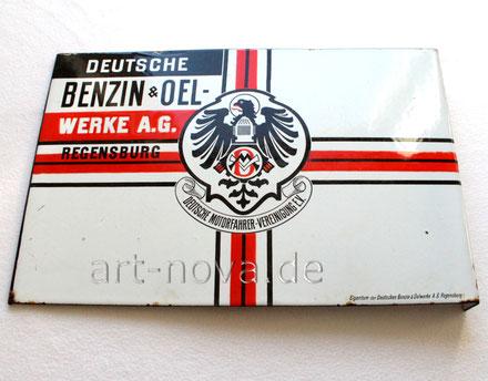 Werbeschild Deutsche Motorradfahrer Vereinigung Benzin & Oelwerke
