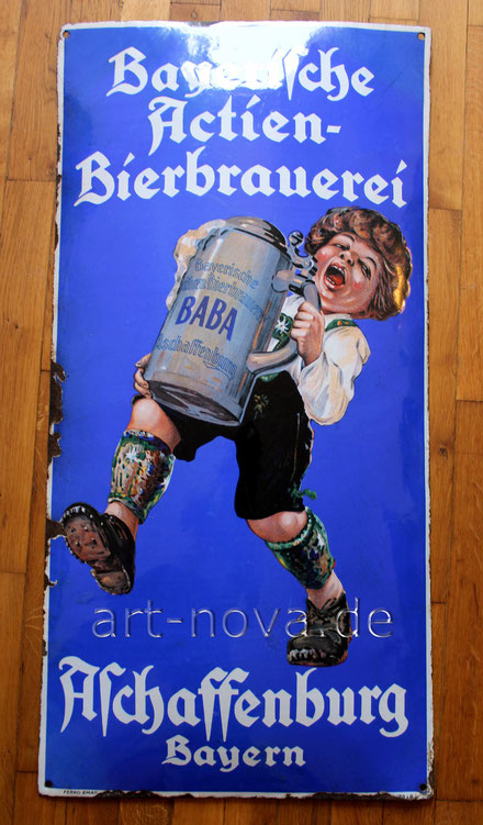 Uraltes Emailschild der Bayerische Actien Brauerei Aschaffenburg in sehr schönen Hochglanz!