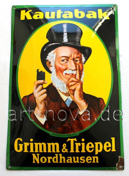 Originales Emailschild von Grimm & Triepel Kautabak Nordhasen in sehr schöner Erhaltung!