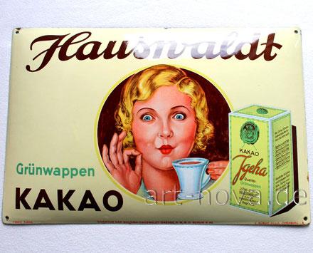unglaublich gut erhaltenes Emailschild Hauswaldt Kakao Magdeburg aus Berlin