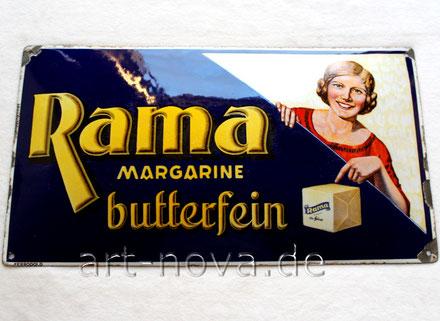 Emailschild Rama Margarine butterfein in Originalzustand