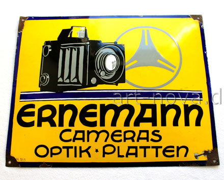Emailliertes Werbeschild Erneman Camera in traumhafter Erhaltung!
