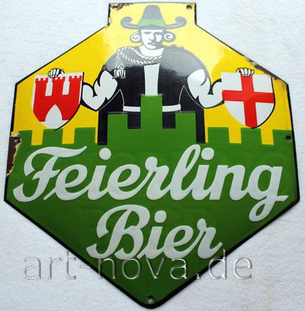 Altes Emailschild der Brauerei Feierling mit einem sehr schönen Hochglanz!