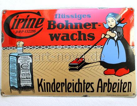 Sehr seltenes Emailschild der Firma Cirine Bohnerwachs um 1920 im Hochglanz!