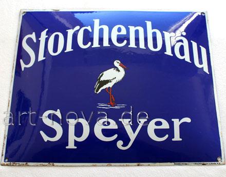 Altes Emailschild der Storchenbräu Speyer um 1920 in sehr schönen Hochglanz!