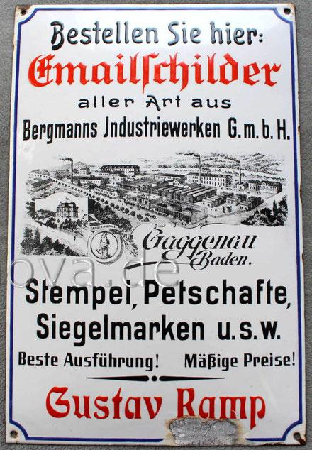 Uralter Emailschild Bergmanns Industriewerke Gaggenau um 1910 in sehr schöner Erhaltung!