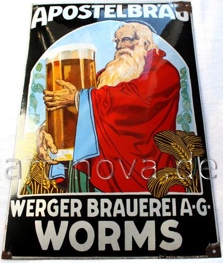 Emailschild Apostelbräu Worms, ein altes Original um 1920