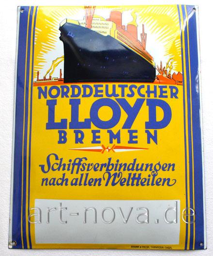 Uraltes Werbeschild von Norddeutscher Lloyd Bremen von 1920