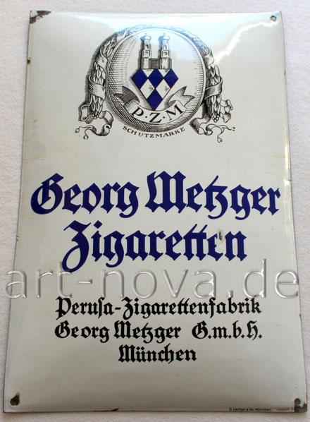 Werbeschild um 1930 der Münchner Zigaretten Fabrik um 1930!