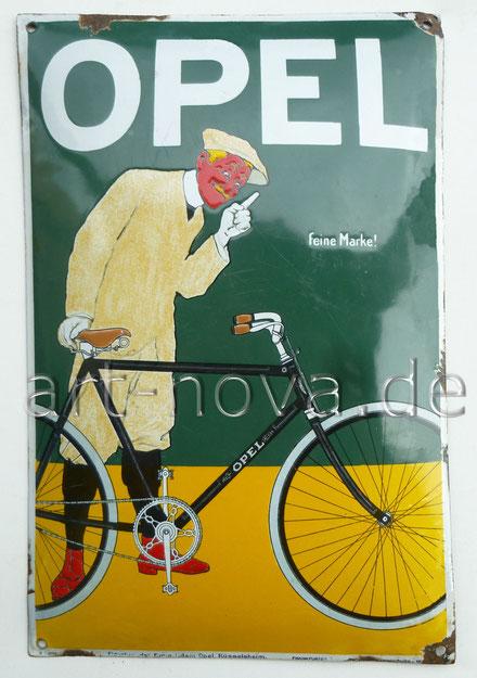 Altes Emailschild  von Opel Fahrräder um 1900 in wirklich sehr schöner Erhaltung!