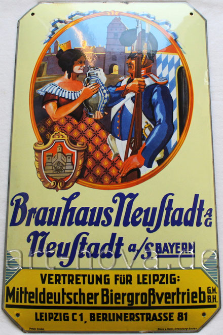 Emailschild des Brauhauses Neustadt um 1930 in nahezu perfekter Erhaltung !