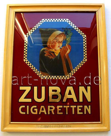 Uraltes Werbeschild von Zuban Cigaretten München um 1920 in traumhafter Erhaltung!